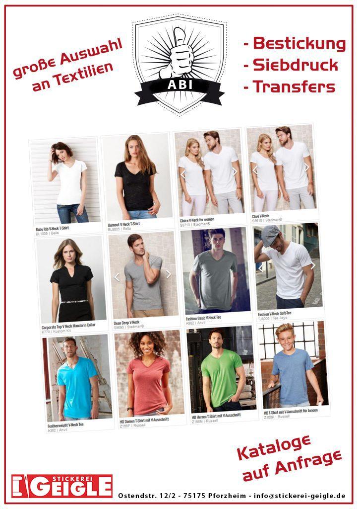 Abishirts und Abschlussshirts mit Eurem Motiv im Siebdruck oder Transferdruck