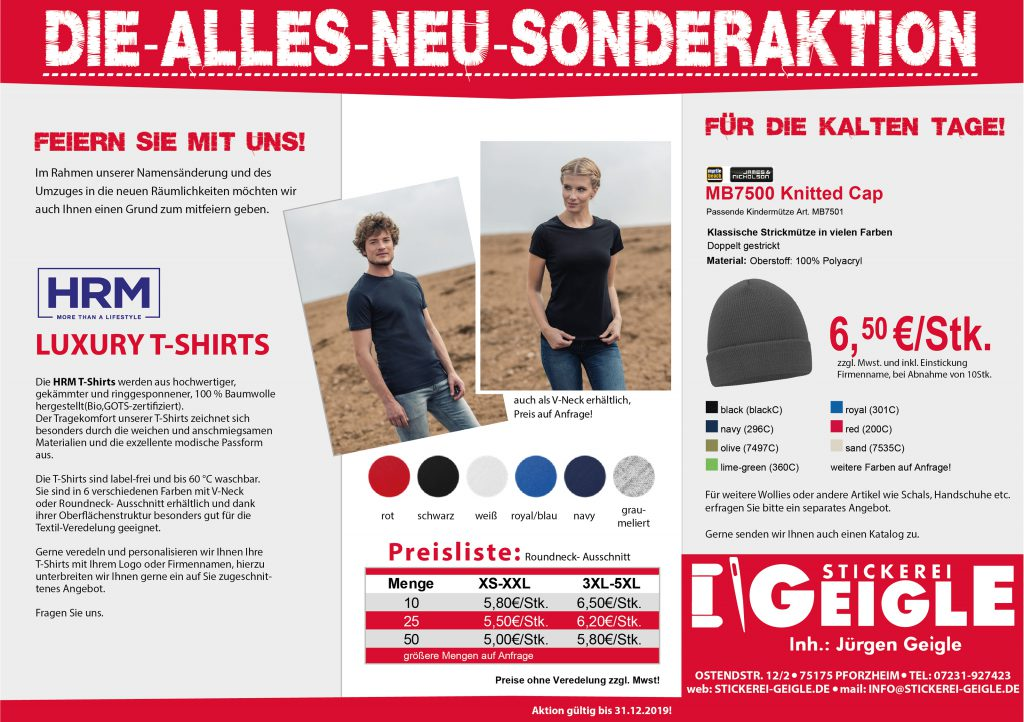 Sonderaktion T-Shirts und Wollies